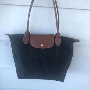 Longchamp black nylon brown leather tote